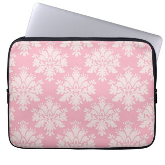 Girly Baby Pink Cream Vintage Damask Pattern Laptop Sleeve