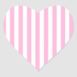 Girly Baby Pink Solid Stripes Pattern Heart Sticker