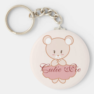 Girly Bear Basic Round Button Key Ring