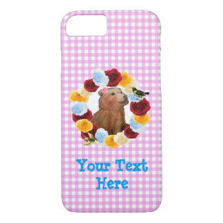 Girly Bear Cub Flowers Gingham iPhone 7 Case