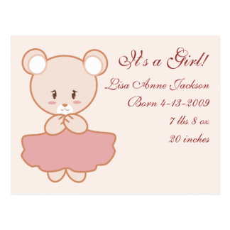 Girly Bear Postcard