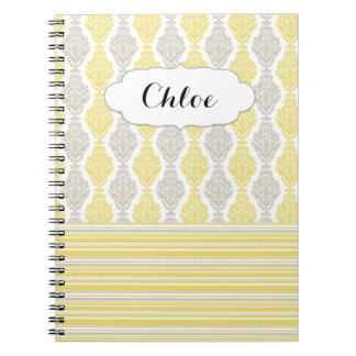 Girly Beautiful Damask & Striped Notebook