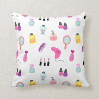 Girly Beauty and Grooming Pattern for Girls Room Throw Cushion