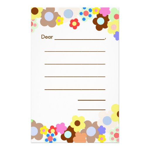 Girly Beginners Lined Writing Paper Stationery Design