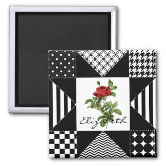 Girly Black and White Geometric Red Rose With Name Magnet