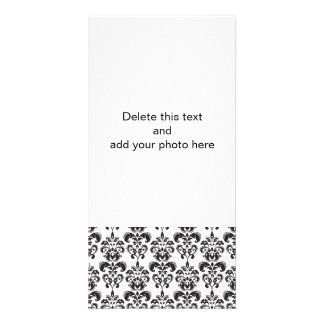 Girly Black and White Vintage Damask Pattern 2 Photo Greeting Card