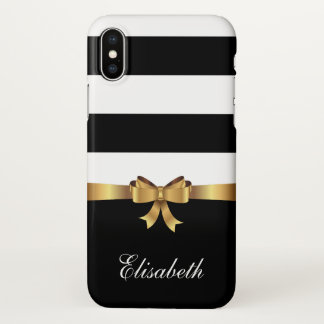 Girly Black Bold Stripes Golden BOW personalized iPhone X Case