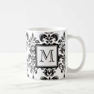 GIRLY BLACK DAMASK PATTERN 2 YOUR INITIAL BASIC WHITE MUG