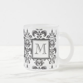 GIRLY BLACK DAMASK PATTERN 2 YOUR INITIAL FROSTED GLASS MUG