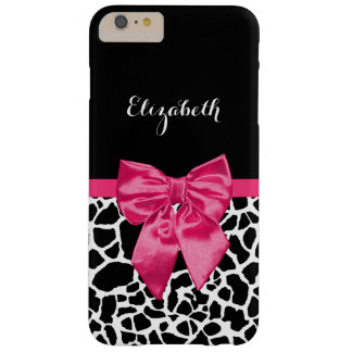 Girly Black Giraffe Animal Print Cute Hot Pink Bow Barely There iPhone 6 Plus Case