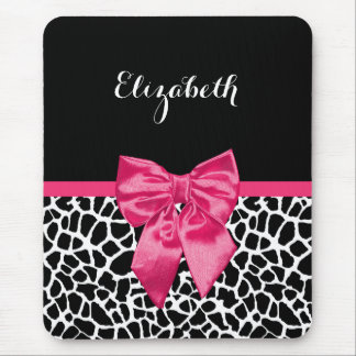 Girly Black Giraffe Animal Print Cute Hot Pink Bow Mouse Pad
