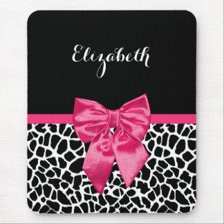 Girly Black Giraffe Animal Print Cute Hot Pink Bow Mouse Pad