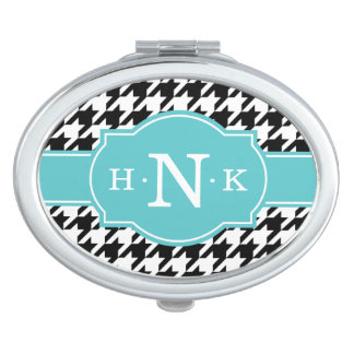 Girly Black Houndstooth Blue Monogram Mirror For Makeup