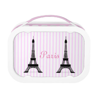 Girly Black White and Pink French Eiffel Towers Lunch Box