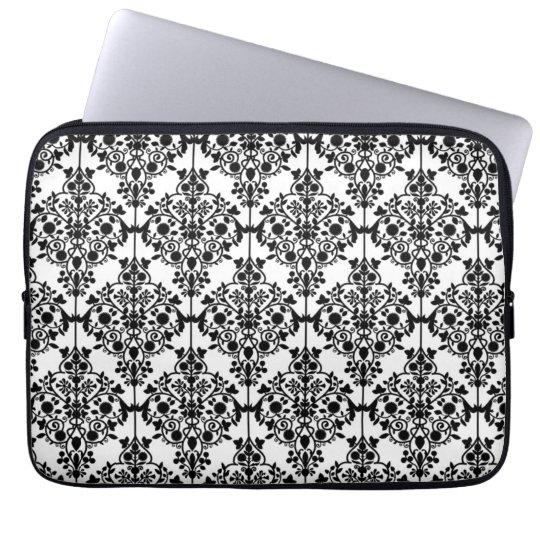Girly Black WHite Floral Damask Pattern Laptop Sleeve