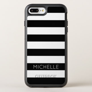 Girly Black White Stripes Custom Name Monogram OtterBox Symmetry iPhone 8 Plus/7 Plus Case