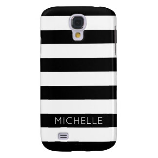 Girly Black White Stripes Custom Name Monogram Samsung Galaxy S4 Covers