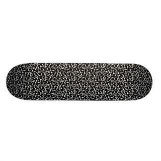 Girly Black White Swirls Pattern Skateboard Deck