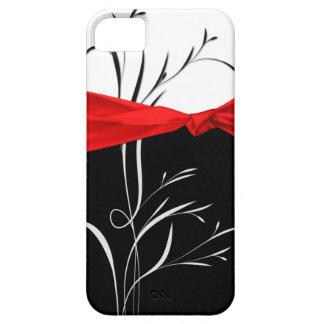 Girly Black, White Swirls Red Ribbon iPhone5 iPhone 5 Cover