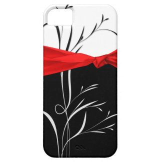 Girly Black, White Swirls Red Ribbon iPhone5 iPhone 5 Cover