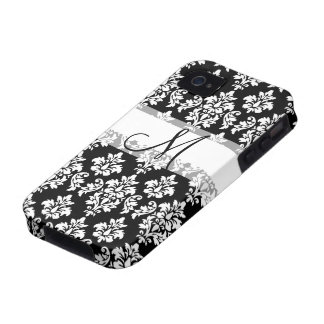 Girly Black White Vintage Damask Your Monogram iPhone 4/4S Covers