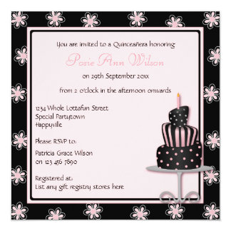 Girly Black with Pink Flowers and Birthday Cake 13 Cm X 13 Cm Square Invitation Card
