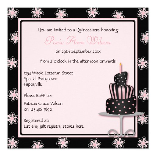 Girly Black with Pink Flowers and Birthday Cake Custom Invitations