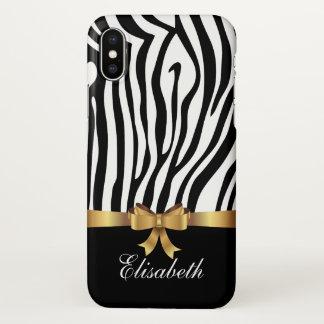Girly Black zebra stripes Golden BOW personalized iPhone X Case