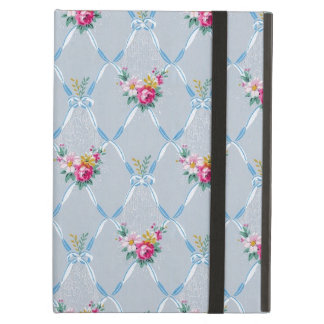 Girly Blue Bows Pretty Pink Rose Floral Pattern Cover For iPad Air