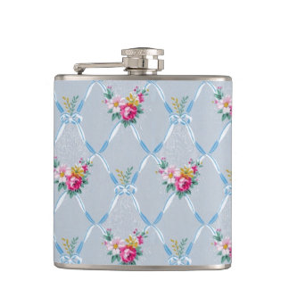 Girly Blue Bows Pretty Pink Rose Floral Pattern Hip Flask