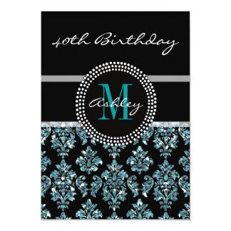 Girly Blue Glitter Black Damask 40th Birthday 13 Cm X 18 Cm Invitation Card