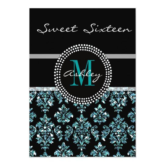 Girly Blue Glitter Black Damask Personalised Party Card