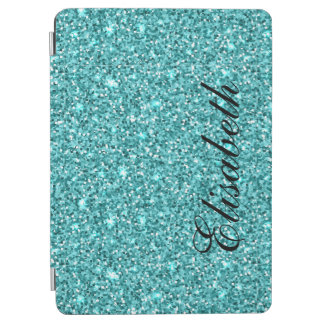 GIRLY BLUE GLITTER PRINTED PERSONALIZED iPad AIR COVER