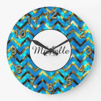 Girly blue gold glitter name | Personalize Clocks