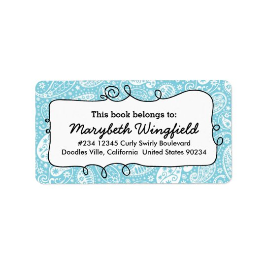 Girly Blue Paisley Ladies Doodle Bookplate Label
