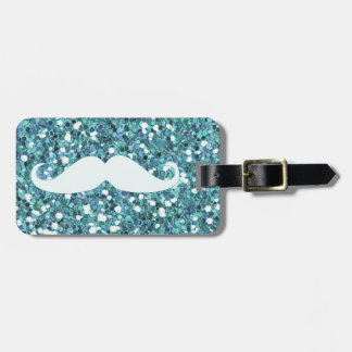 GIRLY BLUE WHITE MUSTACHE PRINTED GLITTER LUGGAGE TAG