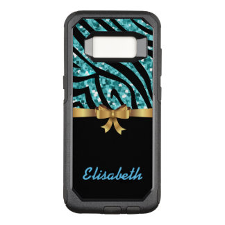 GIRLY BLUE ZEBRA glitter  black GOLD BOW monogram OtterBox Commuter Samsung Galaxy S8 Case