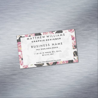 Girly Blush Pink and Black Watercolor Flowers Magnetic Business Card