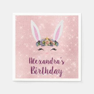 Girly Blush Pink Easter Bunny Birthday Party Disposable Napkin