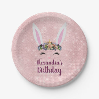 Girly Blush Pink Easter Bunny Birthday Party Paper Plate