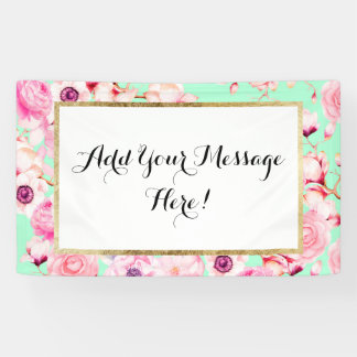Girly Blush Pink Floral on Mint Green Banner