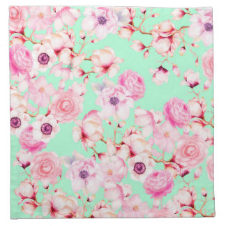 Girly Blush Pink Floral on Mint Green Napkin