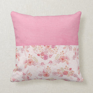 Girly Blush Pink Floral Throw Pillow