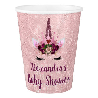 Girly Blush Pink Sparkle Unicorn Baby Shower Paper Cup