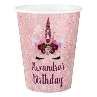 Girly Blush Pink Sparkle Unicorn Birthday Party Paper Cup
