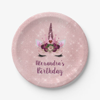 Girly Blush Pink Sparkle Unicorn Birthday Party Paper Plate