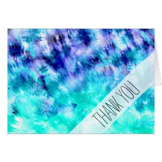 Girly boho turquoise watercolor mermaid tie dye card