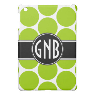 GIRLY BOLD MONOGRAM LIME GREEN POLKA DOTS iPad MINI CASE