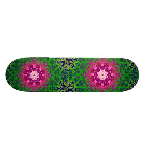 girly bold pattern Fuschia green damask Skate Board