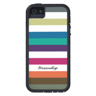 Girly Bold Raibow Big Horizontal Stripes and Name iPhone 5 Case